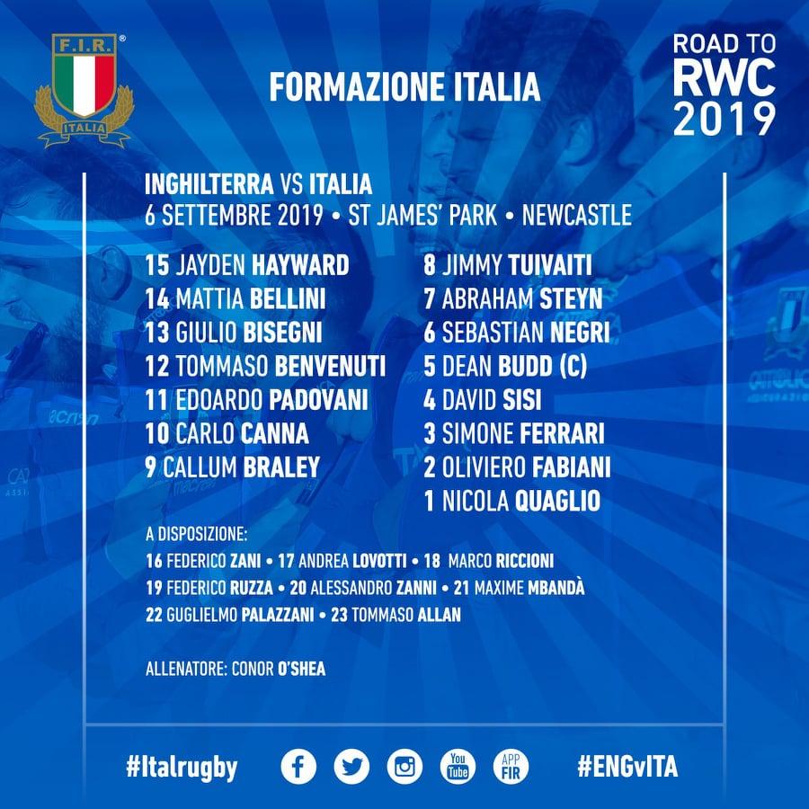 formazione inghilterra italia sep 2019