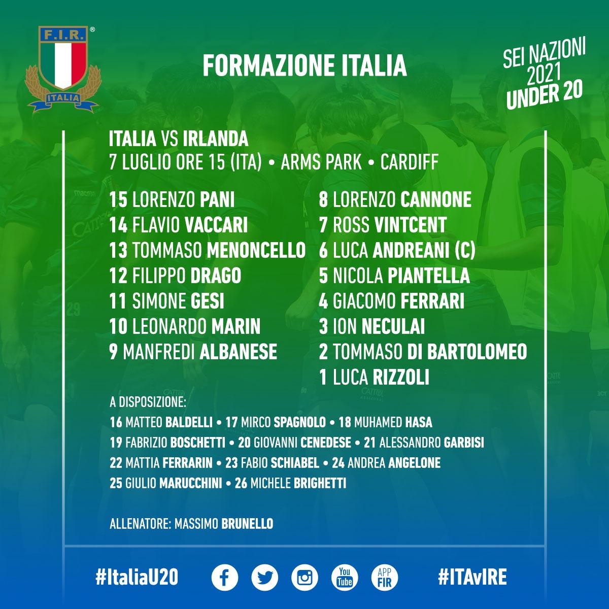 formazione italia irlanda u20